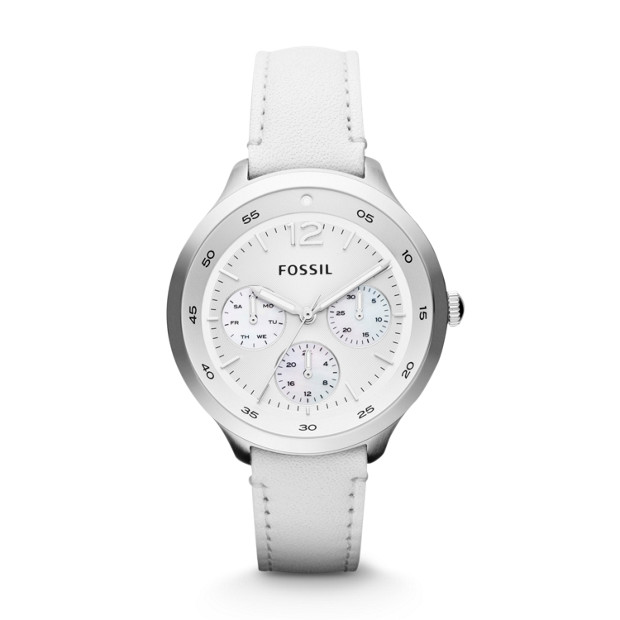 The Editor Multifunction Leather Watch - White