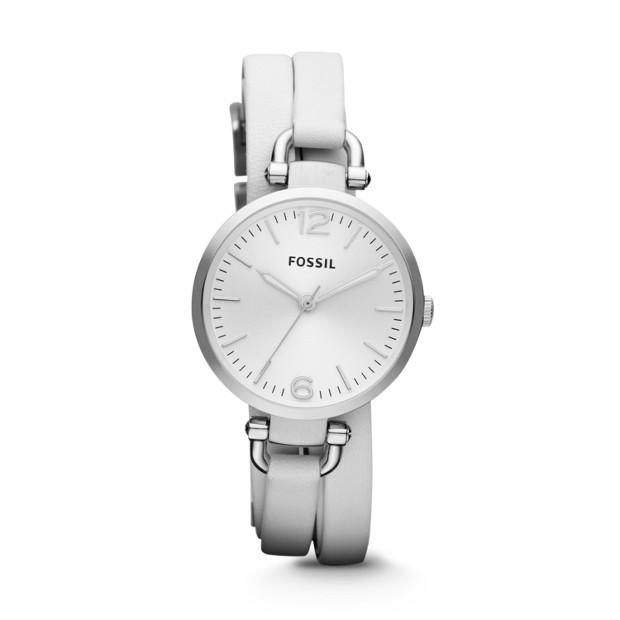 Georgia Three-Hand Leather Watch - White