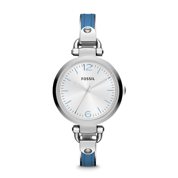 Georgia Three Hand Stainless Steel and Leather Watch - Blue