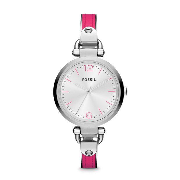 Georgia Three Hand Stainless Steel and Leather Watch - Pink