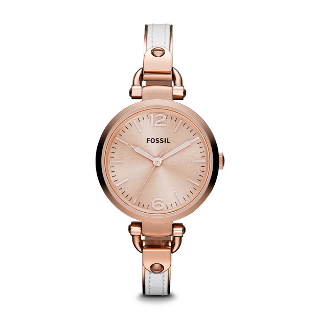 Georgia Three-Hand Stainless Steel and Leather Watch White with Rose