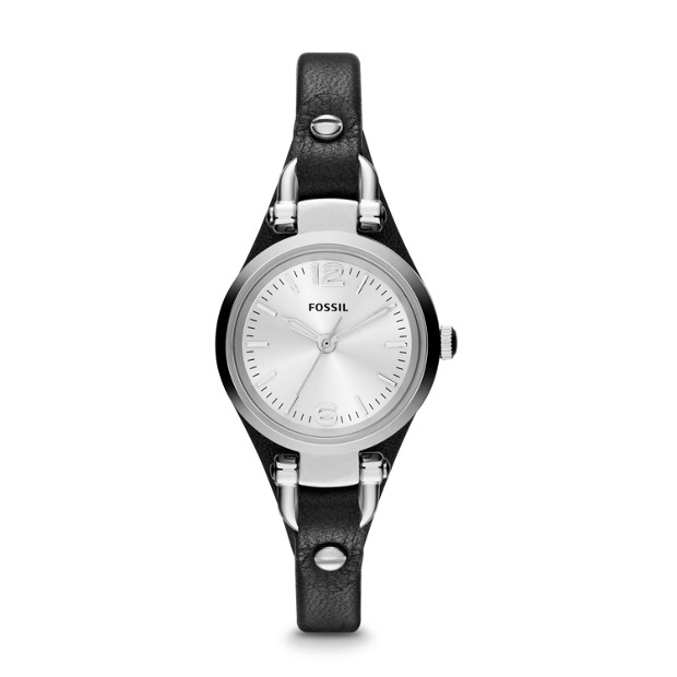 Georgia Mini Black Leather Watch