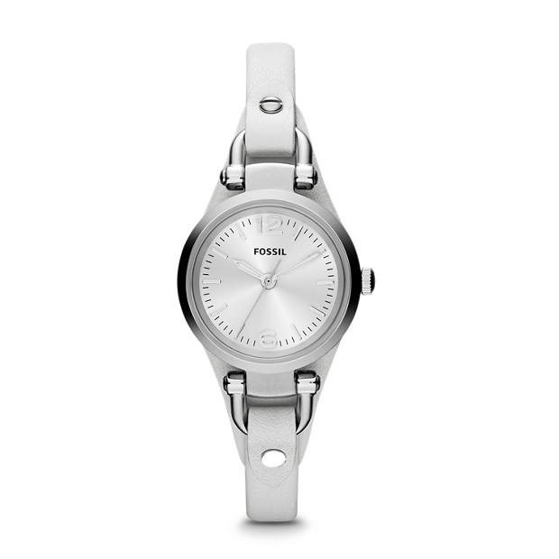 Georgia Mini Three Hand Leather Watch - White