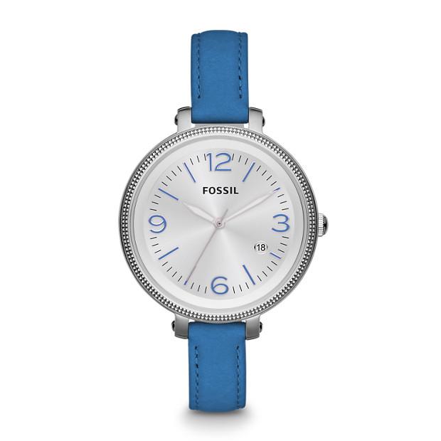 Heather Three Hand Leather Watch - Blue