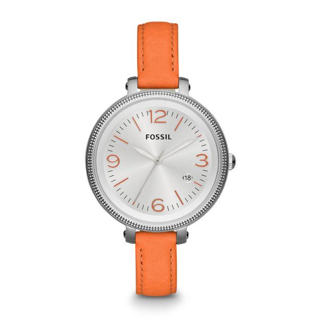 Heather Three Hand Leather Watch - Orange