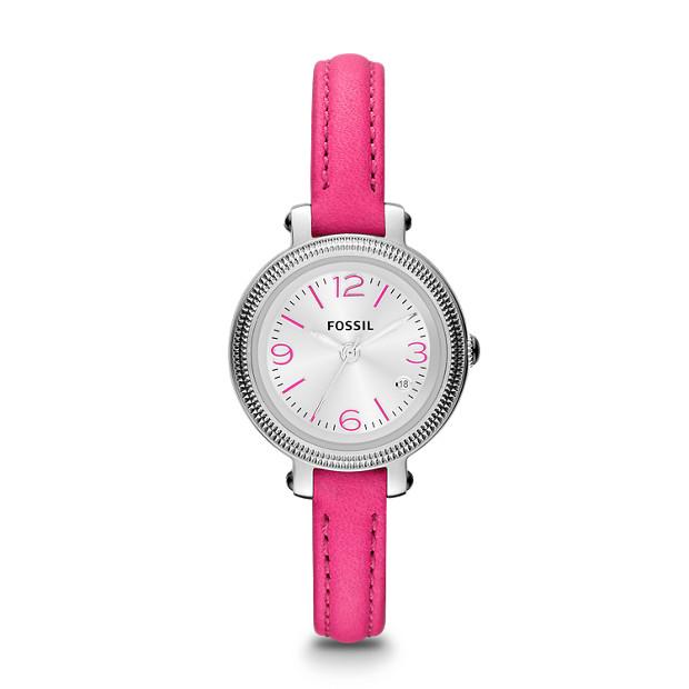 Heather Three Hand Leather Watch - Pink