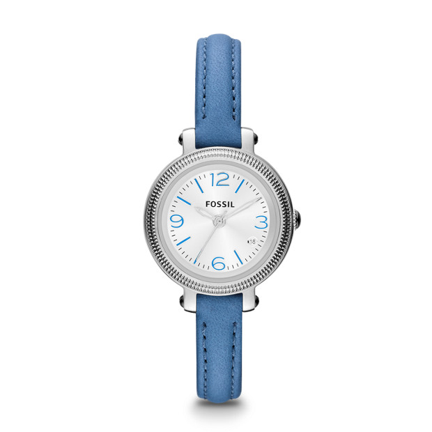 Heather Three Hand Leather Watch - Blue