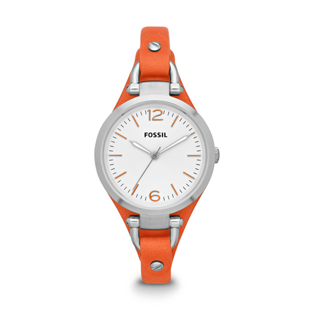 Georgia Three-Hand Leather Watch - Orange
