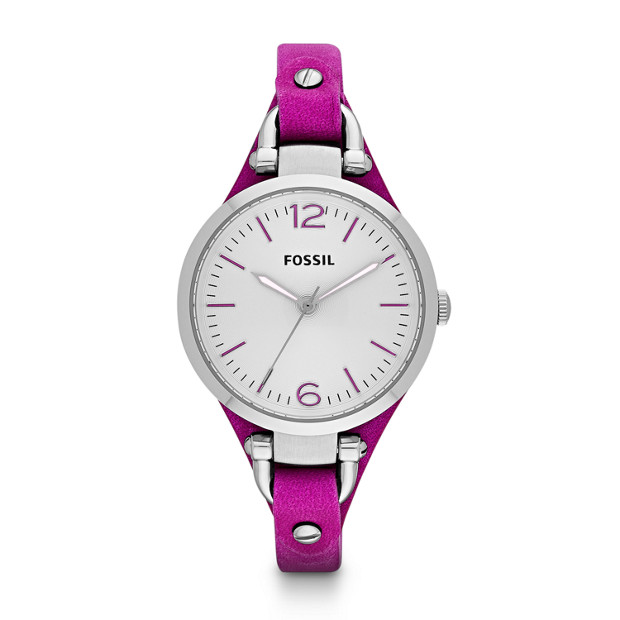 Georgia Three Hand Leather Watch - Magenta
