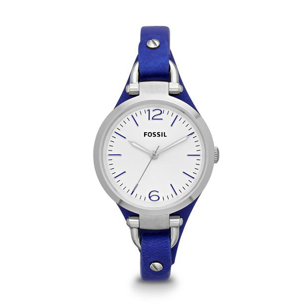 Georgia Three-Hand Leather Watch - Blue