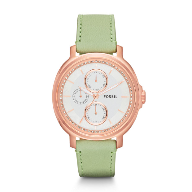 Chelsey Multifunction Mint Leather Watch