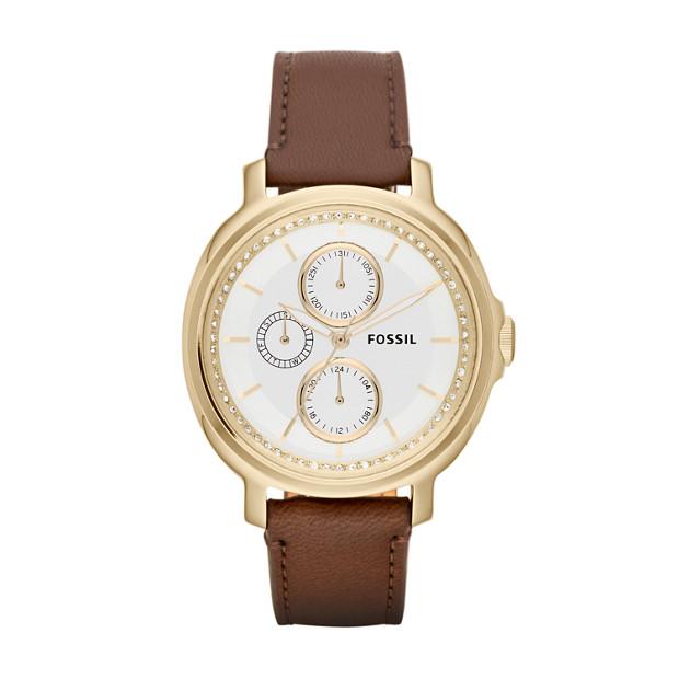 Chelsey Multifunction Leather Watch - Dark Brown
