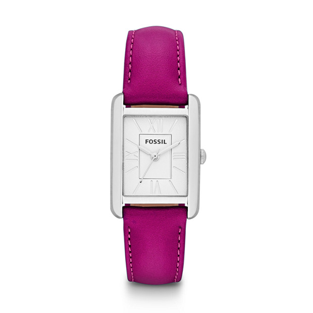 Florence Three-Hand Leather Watch - Magenta