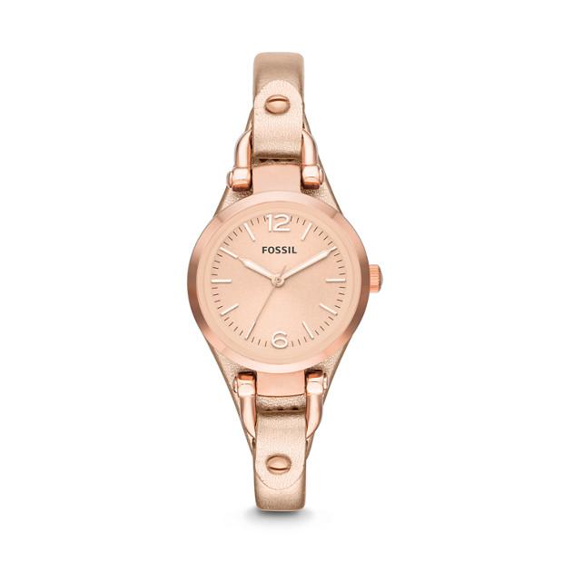 Georgia Three-Hand Leather Watch - Metallic Rose