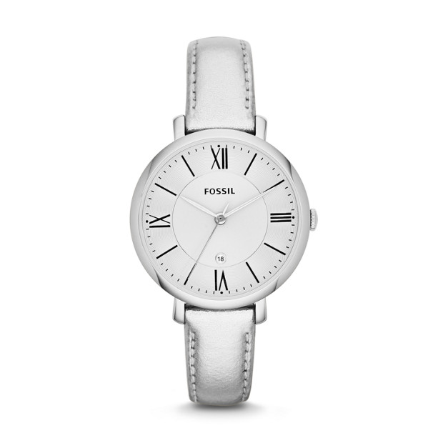 Jacqueline Metallic Silver Leather Watch