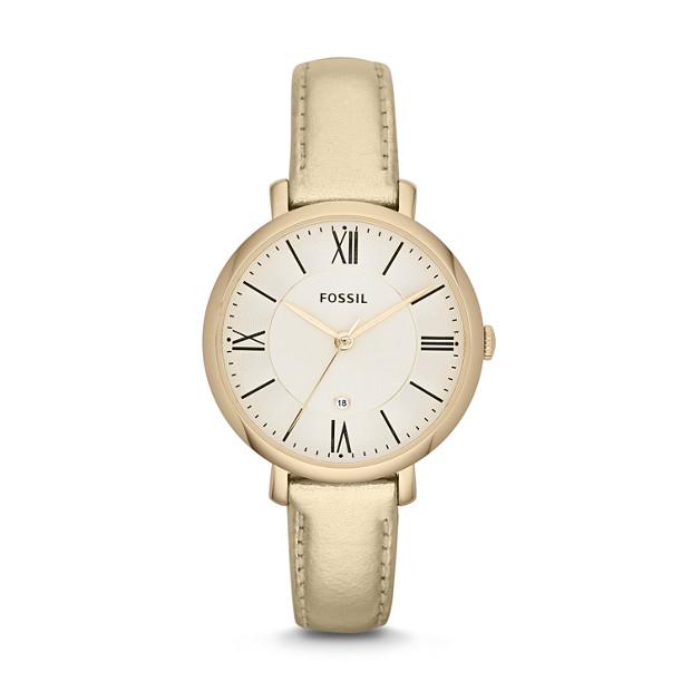 Jacqueline Three-Hand Leather Watch - Metallic Gold
