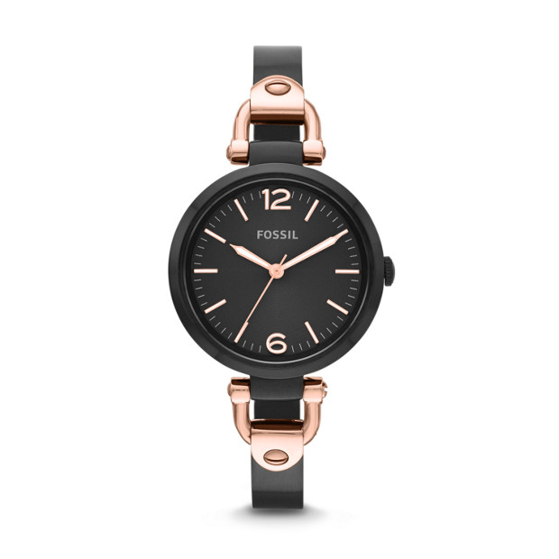 Georgia Three-Hand Bangle Watch - Black