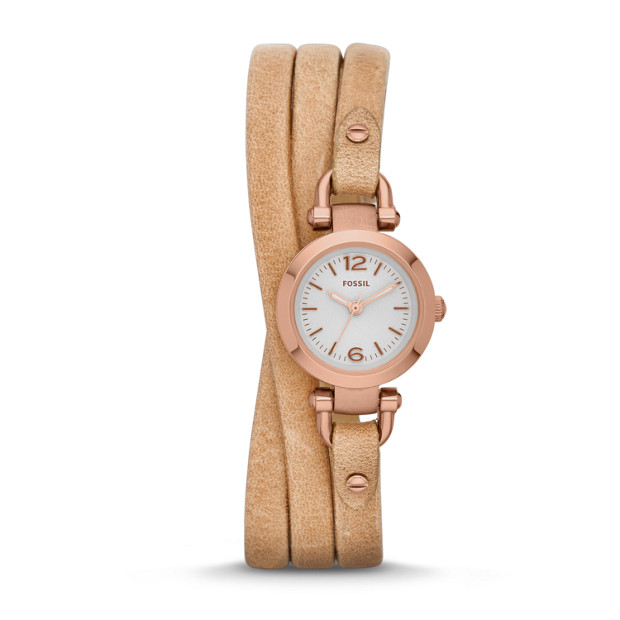 Georgia Sand Leather Wrap Watch
