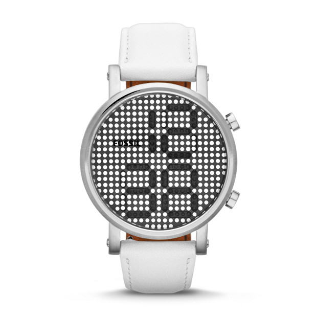 Special Edition Electro Tick Digital Leather Watch - White