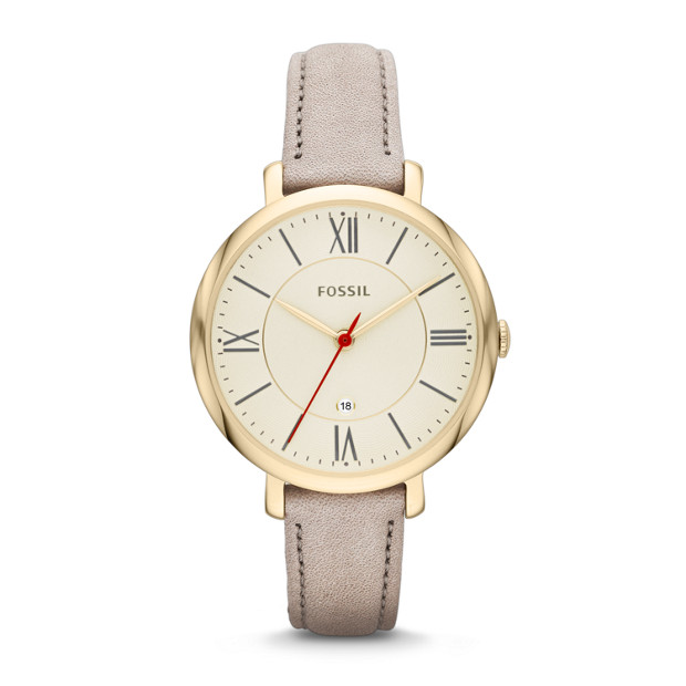 Jacqueline Three-Hand Leather Watch - Gray