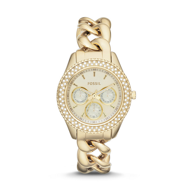Stella Chain Multifunction Gold-Tone Stainless Steel Watch