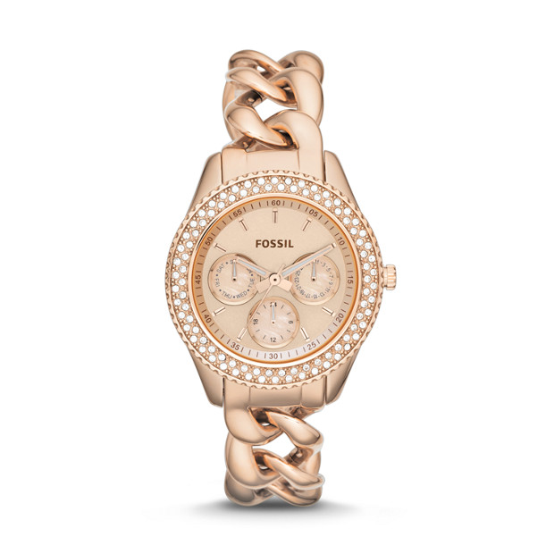 Stella Chain Multifunction Rose-Tone Stainless Steel Watch