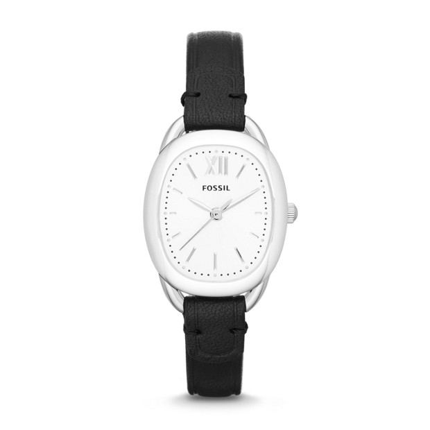 Sculptor Black Leather Watch