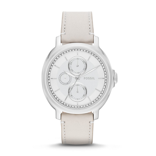 Chelsey Multifunction White Leather Watch