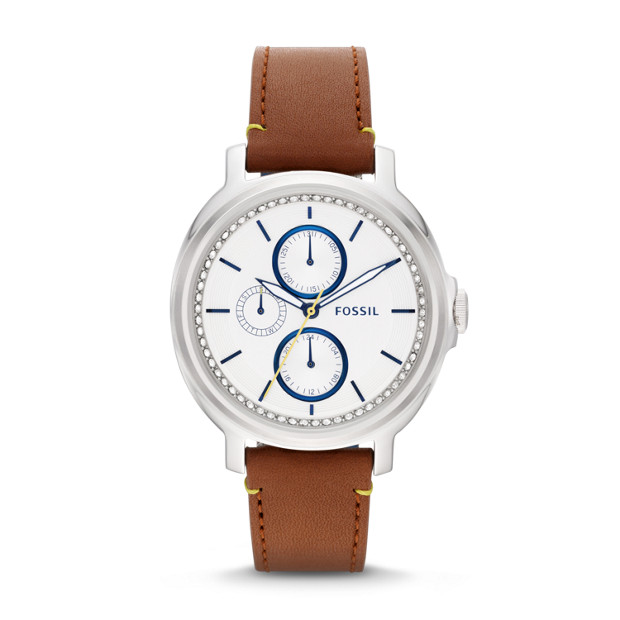 Chelsey Multifunction Brown Leather Watch