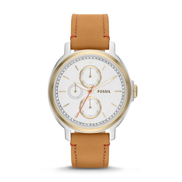 Chelsey Multifunction Tan Leather Watch