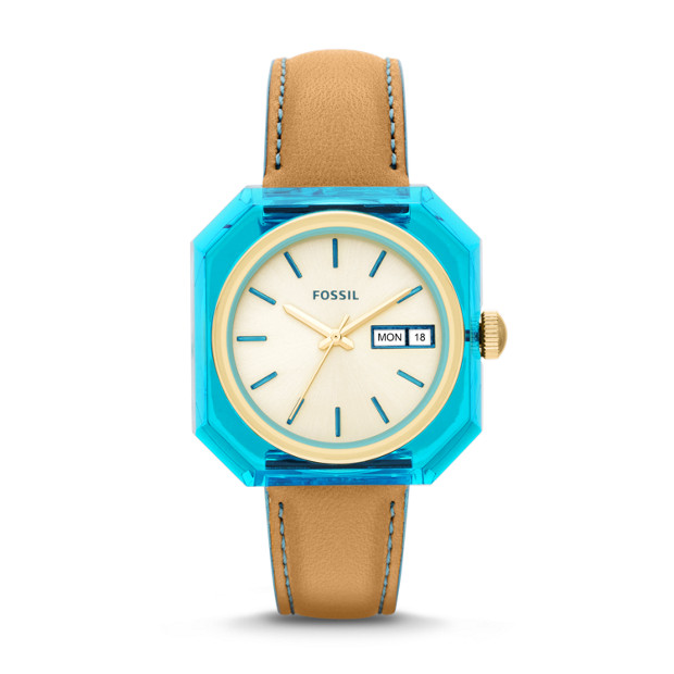 Wrist Pop Tan & Blue Leather Watch