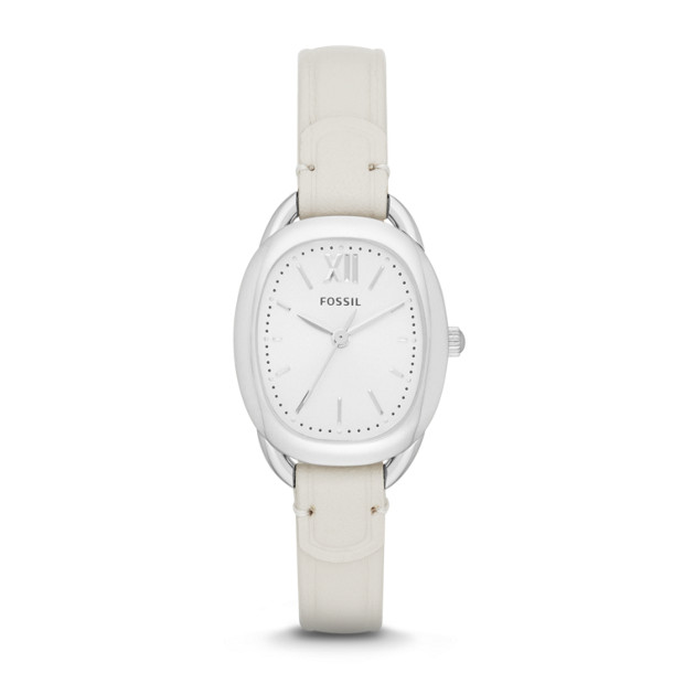 Sculptor White Leather Watch