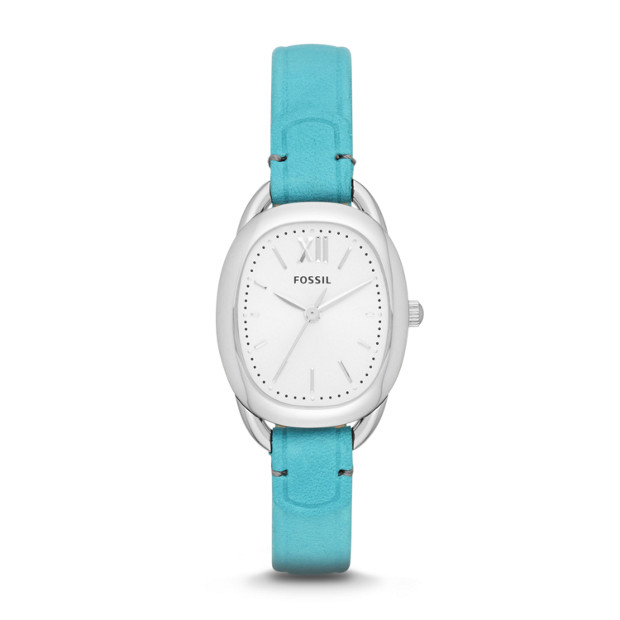 Sculptor Three-Hand Leather Watch - Blue
