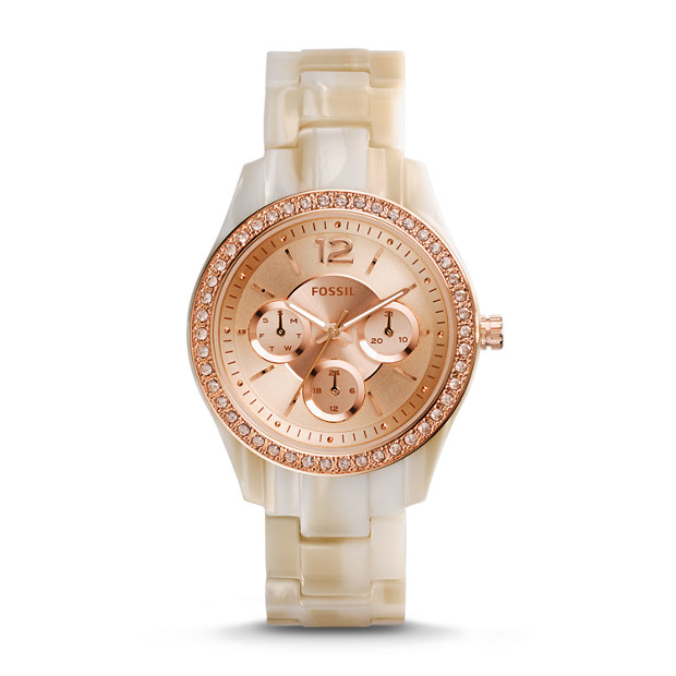 Stella Multifunction Pearlized Resin Watch – Shimmer Horn