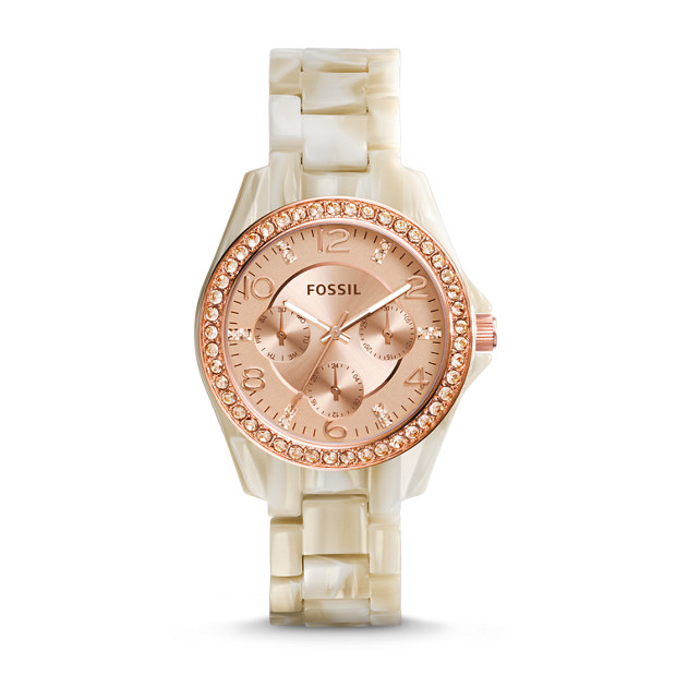Riley Multifunction Pearlized Resin Watch – Shimmer Horn