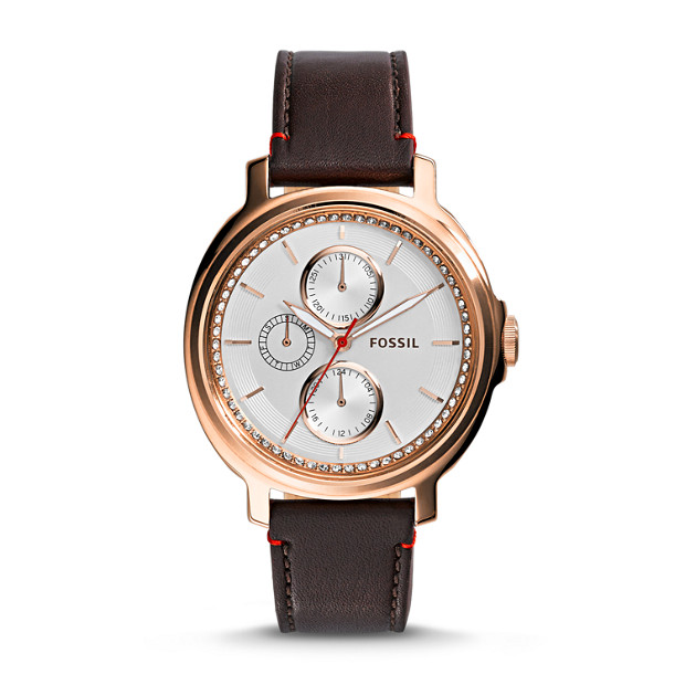 Chelsey Multifunction Dark Brown Leather Watch