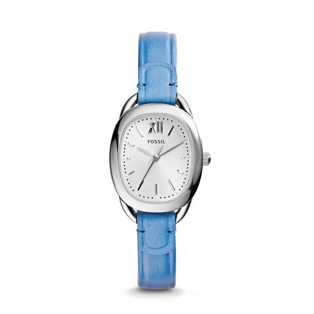 Sculptor Three-Hand Leather Watch – Marina Blue