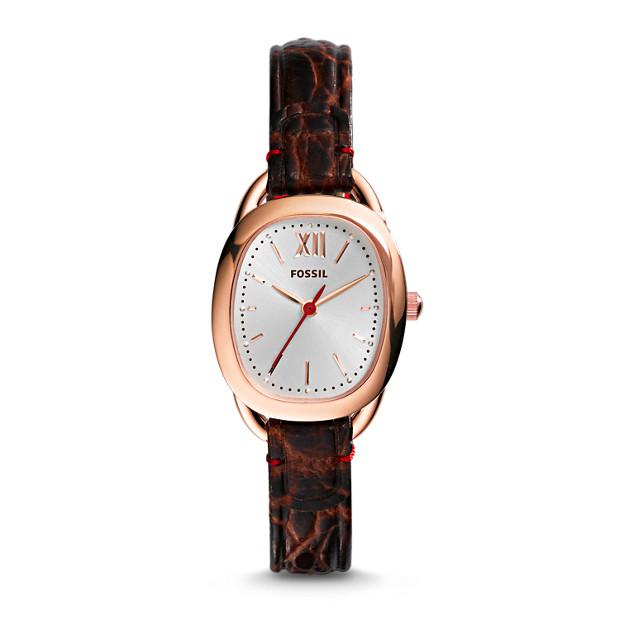 Sculptor Brown Croco Leather Watch