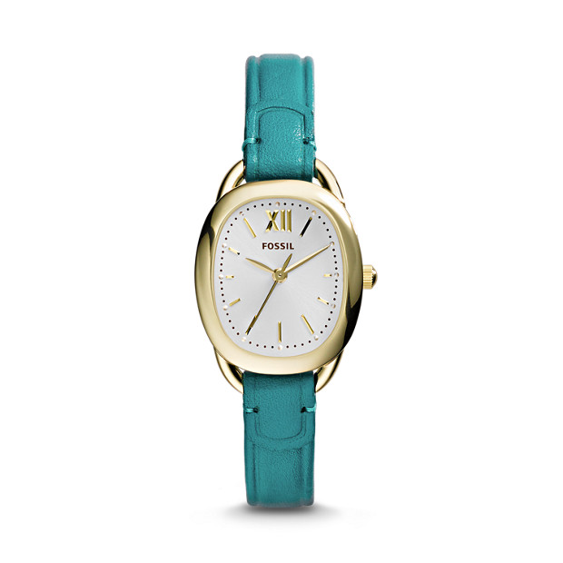 Sculptor Three-Hand Leather Watch – Turquoise