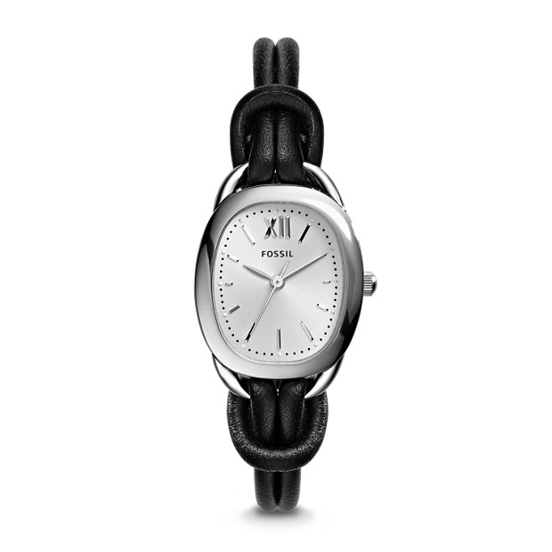 Sculptor Cord & Black Stainless Steel Leather Watch