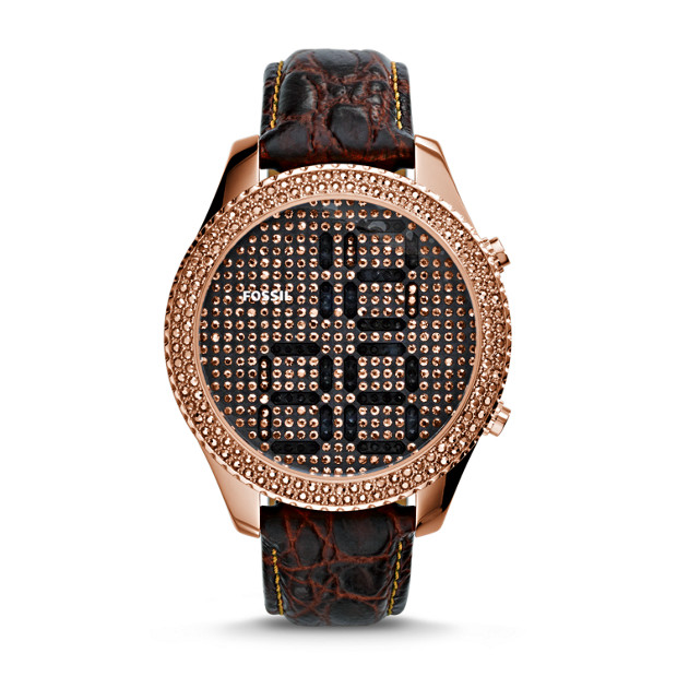 M3 Electro Tick Digital Leather Watch - Brown Croco