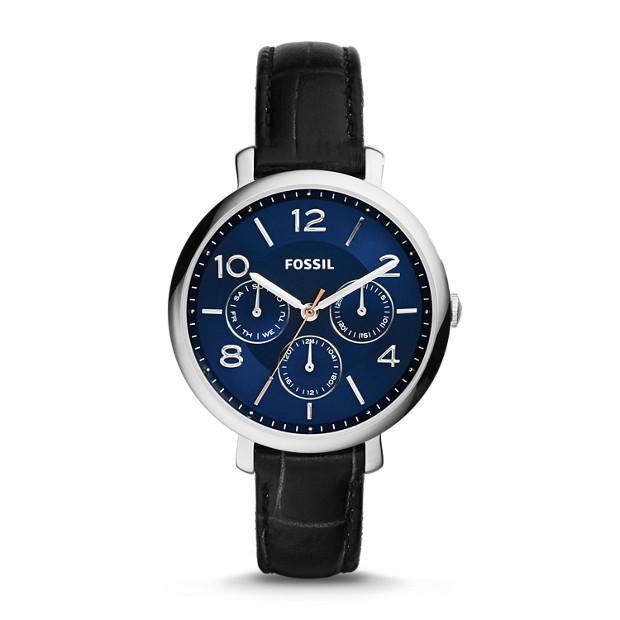 Jacqueline Multifunction Black Croco Leather Watch