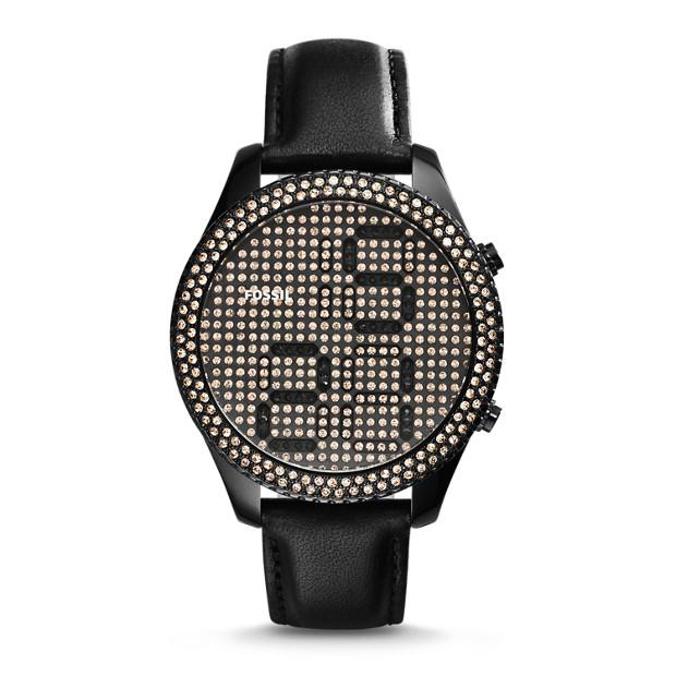 Electro Tick Digital Leather Watch - Black