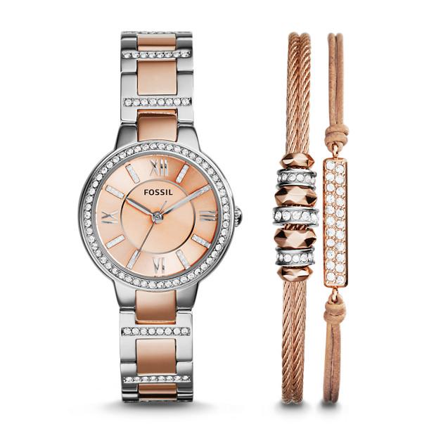 Coffret montre Virginia trois aiguilles en acier inoxydable et bracelets