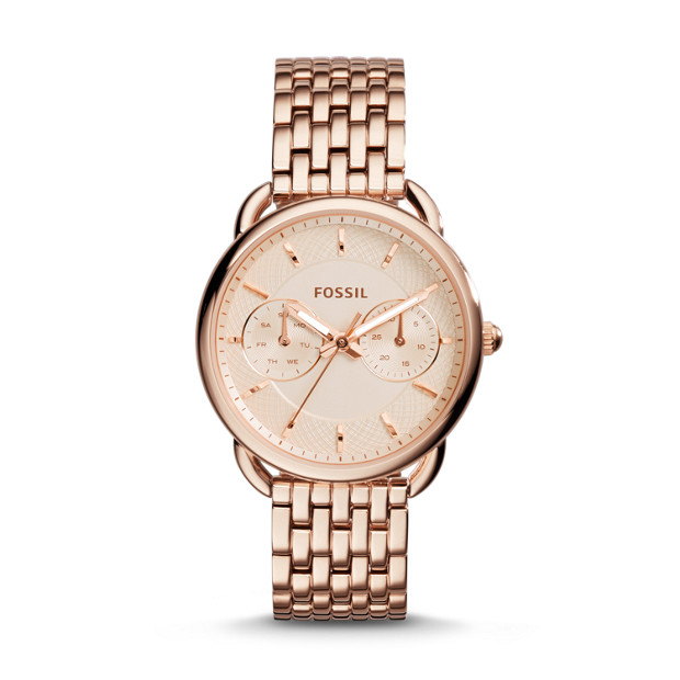 Tailor Multifunction Rose Tone Stainless Steel Watch Fossil