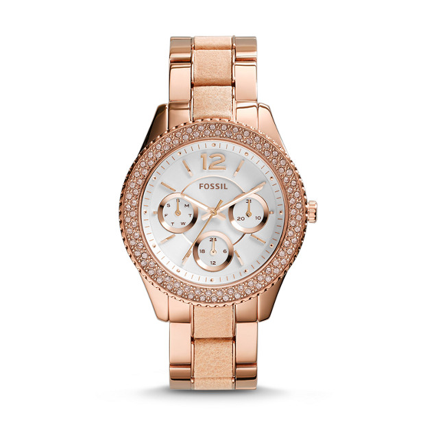 Stella Multifunction Rose-Tone Stainless Steel & Leather Watch
