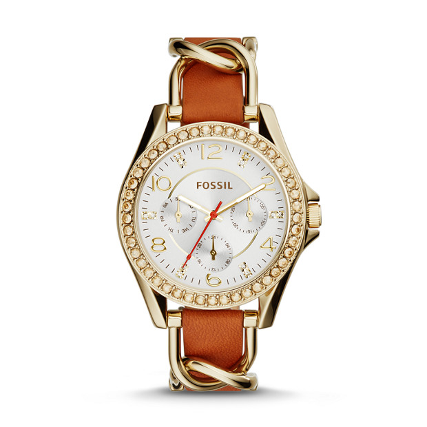 Riley Multifunction Gold-Tone Stainless Steel & Tan Leather Watch