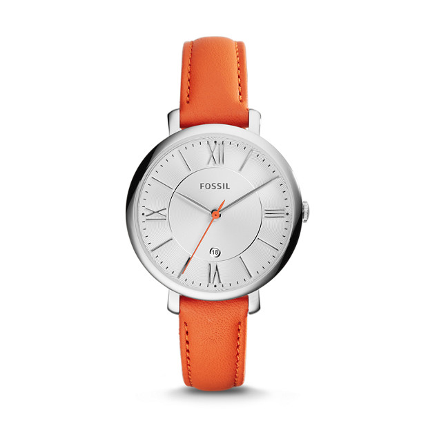 Jacqueline Coral Leather Watch