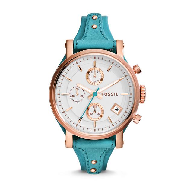 Original Boyfriend Chronograph Turquoise Leather Watch