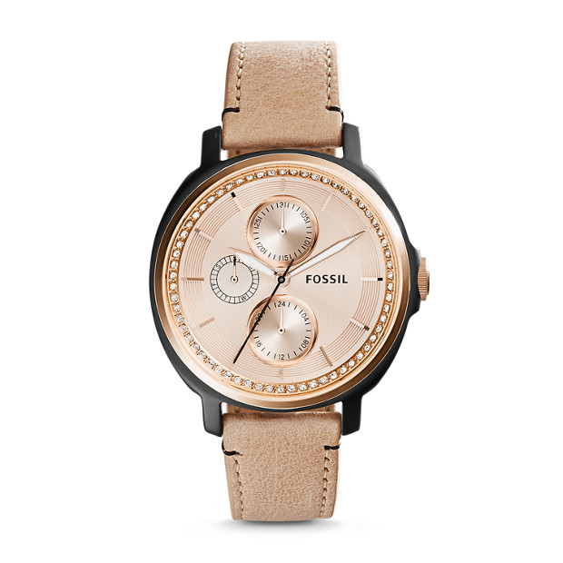 Chelsey Multifunction Sand Leather Watch